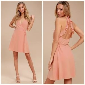 Lulu's  Morning Glory Blush Pink Wrap Dress